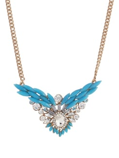 Blue & Gold Pendant Necklace - YOUSHINE