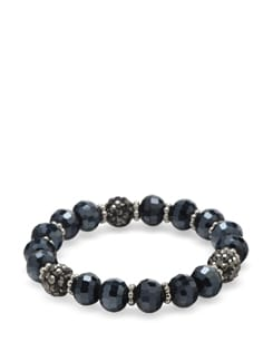 Faceted Navy Blue Crystal Bracelet - Ivory Tag