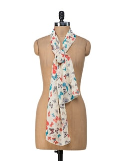 Butterfly Lemon Yellow Scarf - Ivory Tag