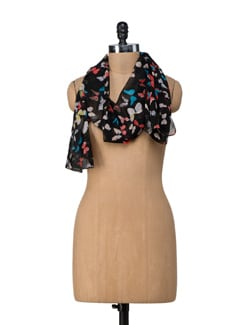Black Butterfly Scarf - Ivory Tag