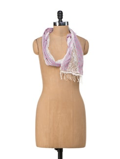 Lace Love Pink Scarf - Ivory Tag