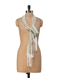 Lacy Polka Dotted Scarf - Ivory Tag