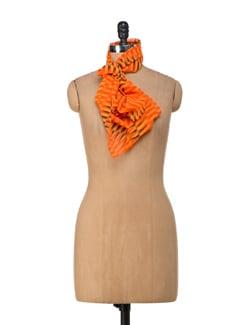 Striped Orange Scarf - Ivory Tag