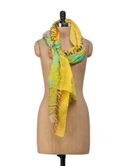 Assorted Printed Lime Yellow Scarf - Ivory Tag