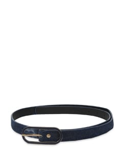 Navy Thin Belt With Oval Buckle - Lino Perros