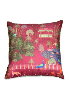 Tamara Peacock's Palace Poly Silk Cushion Cover - India Circus