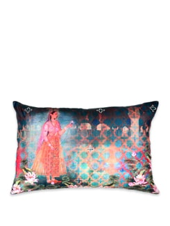 Neo Nawab Lotus Courtesan Poly Silk Cushion Cover - India Circus
