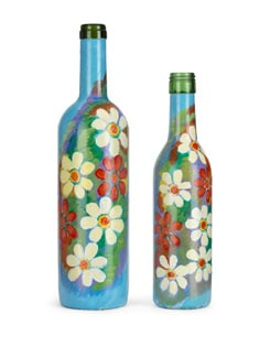 Set Of 2 Handpainted Bottles- Blooming Flowers - BOTTLES NOT EMPTY