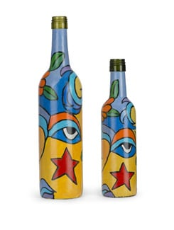 Set Of 2 Handpainted Bottles- Abstract Woman - BOTTLES NOT EMPTY