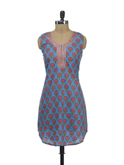 Blue Printed Kurta With Mirror Work - Lyla