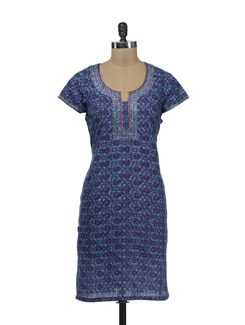 Printed Blue Kurta With Mirror Work - Lyla