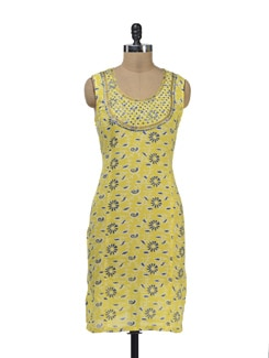 Printed Yellow Kurta With Mirror Work - Lyla