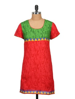 Orange & Green Printed Cotton Kurta - KYLA F