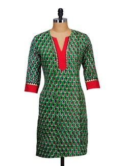 Printed Green Kurta - Paridhaan