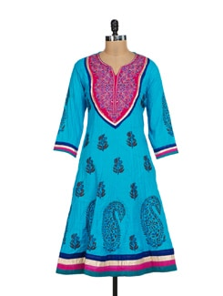 Embroidered Pintuck Blue Anarkali Kurta - Kwardrobe