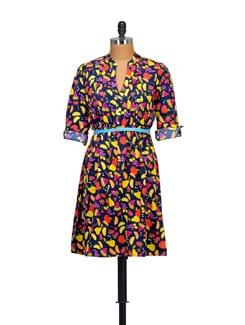 Fruit Print Dress With Blue Belt - Myaddiction