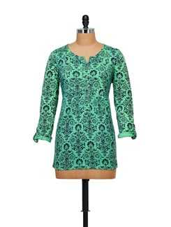 Trendy Green Printed Top - Myaddiction