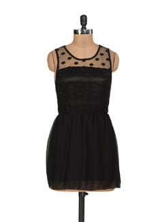 Black Net Dress With Black Trims - Sanchey