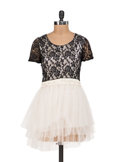 Black And White Frock Style Net Dress - Sanchey