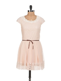 Cutsie Beige Lace Dress - Sanchey