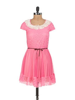Rose Pink Lace Dress - Sanchey