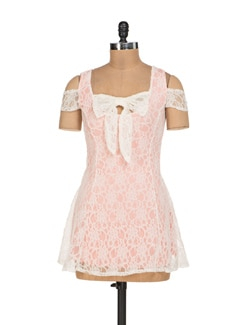 White And Peach Net Panelled Dress - Sanchey