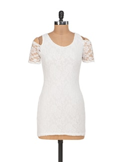 White Lycra Lace Dress With Shoulder Cut-Out - Sanchey