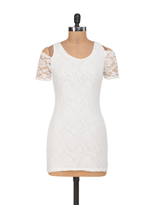 White Lycra Lace Dress With Shoulder Cut-Out - Sanchey