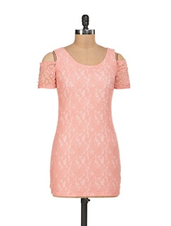 Peach Lycra Lace Dress With Shoulder Cut-Out - Sanchey