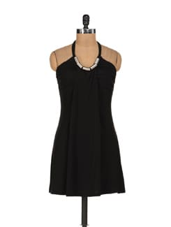 Black Halter Neck Dress - Sanchey