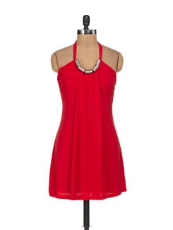 Siren Red Halter Neck Dress - Sanchey