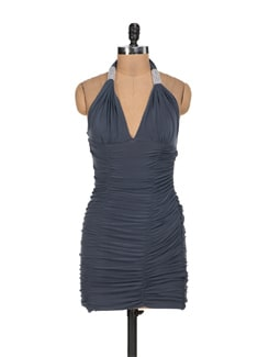 Halter Neck Cowl Drape Dress - Sanchey