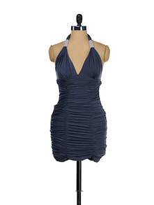 Halter Neck Cowl Drape Dress - Sanchey