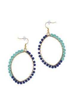 Blue Green Beaded Earrings - Flaunt
