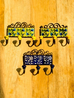 Square Ceramic Tile Hanging Hooks (Set Of 3) - Jaipur Blue Pottery