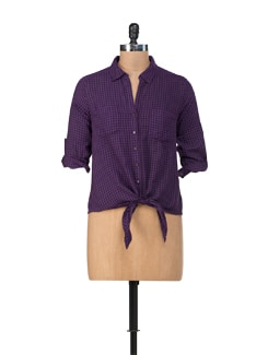 Purple Check Print Shirt With Knot Tie - Chemistry