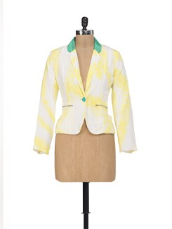 Lemon Yellow Collared Blazer - HERMOSEAR