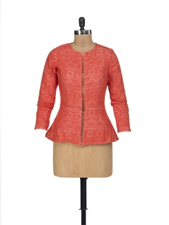 Red Lace Peplum Jacket - HERMOSEAR