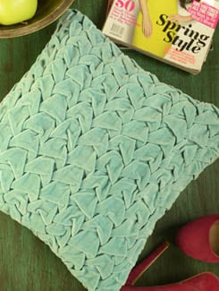 Turquoise Blue Velvet Cushion Cover With Pleates - Stattva