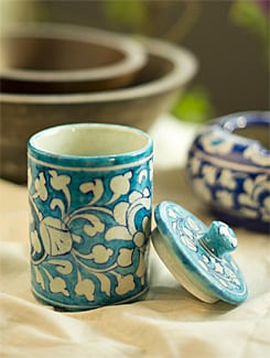 Ceramic Jar With Lid - Jaipur Blue Pottery