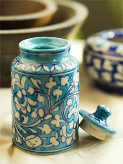 Hand painted Jar with Lid - Jaipur blue pottery 4045