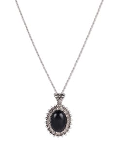 Silver & Black Stone Pendant Necklace - YOUSHINE