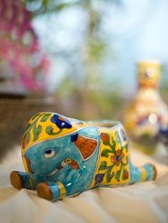Hand Painted Elephant - Jaipur Blue Pottery