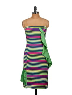 Multicolored Striped Off-Shoulder Dress - Nineteen