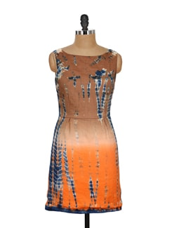 Brown & Orange Printed Sleeveless Dress - Nineteen