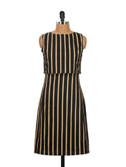 Black & Beige Striped Dress - Nineteen