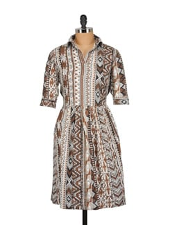 Printed Brown Collared Dress - Nineteen