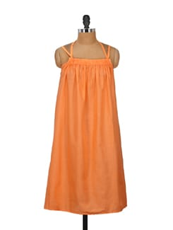 Chic Orange Halter Dress - Nineteen