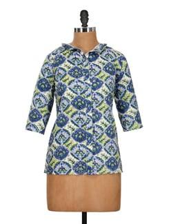 Printed Shirt-Style Kurti - Pehraan