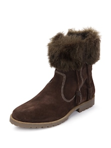 Brown Leather Boots With Tassel - La Briza